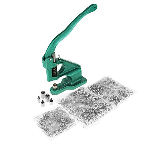 Hand Press Grommet Machine with 3 Dies & 1500Pcs Grommets Eyelet Craft Tool Kit Hole Punches Machine (Eyelet Press)