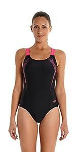 Speedo Damen Badeanzug Sports Logo Medalist, black/vegas pink,40, 8-09689A59340