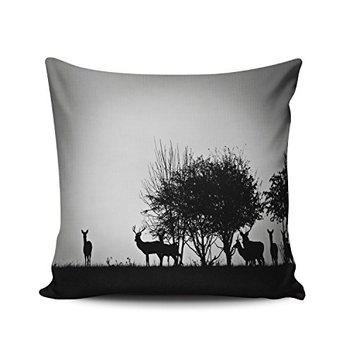 KEIBIKE Pillow Case Animal Deer Beside Tree in the Wild Personalized Pillowcases Fancy Decorative Black and White Throw Pillow Covers Cases Euro Square 26x26 Inches by KEIBIKE