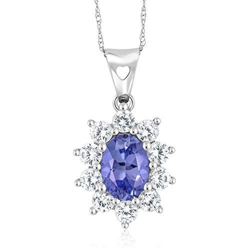 10K White Gold 1.25 Ct Blue Tanzanite Women's Oval Halo Pendant with (Oval Tanzanite Pendant)