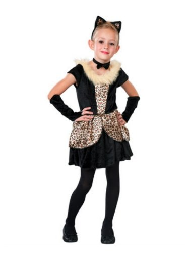 Girls Black Playful Cat Costume Leopard Kitty Cat Suit S (4-6)