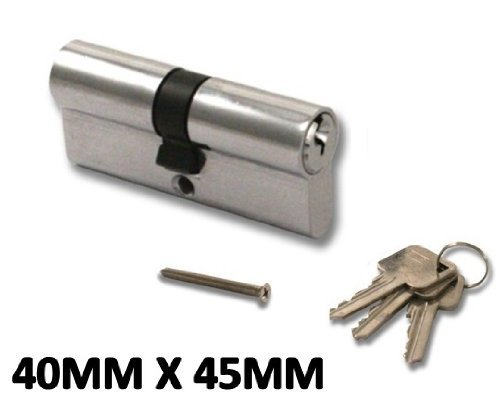 High Security, Anti Drill Euro Cylinder Locks Door Barrel UPVC, Aluminium, Composite, Patio (Chrome, 40x45)