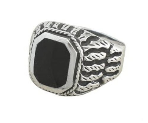 925 Sterling Silver Men's Exotic Scrollwork Black Genuine Onyx Thick Ring (11)