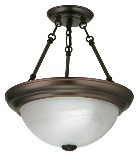 Lithonia Lighting 11780 BZ M4 Light Concepts 2-Light Sheffield Flush/Semi-Flush Ceiling Lighting Fixture, Black Bronze by Lithonia Lighting