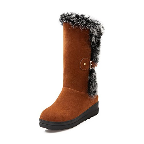 Allhqfashion Women's Frosted Round Closed Toe Solid Low-top Kitten-Heels Boots Brown ocGqEmV