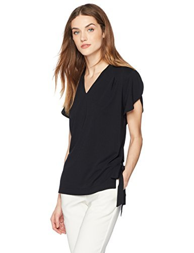 Short Sleeve T-shirt Tie (Painted Heart Women's Short Sleeve V Neck Matte Jersey Blouse with Side Ties at Hem X-Small Black)