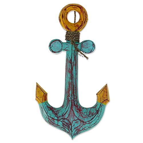 NOVICA Hand Carved Albesia Wood Nautical Wall Art Sign with Agel Grass Cord, 'Anchors Aweigh' Carved Bali Wood Art