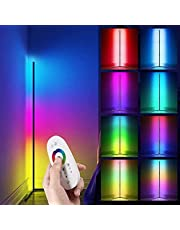 HaiZR Corner Floor Lamp - RGB Color Changing LED Floor Lamp with Remote, Adjustable Height/Dimmable Minimalist Standing Mood Night Lighting for Living Room, Bedroom, Party
