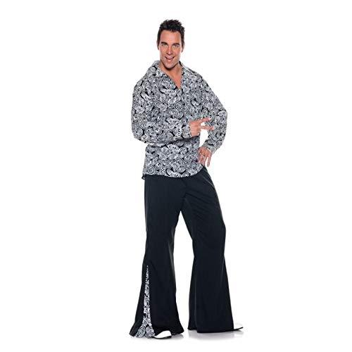 Men's Retro Hippie Costume - Funky, Black/White, One Size -