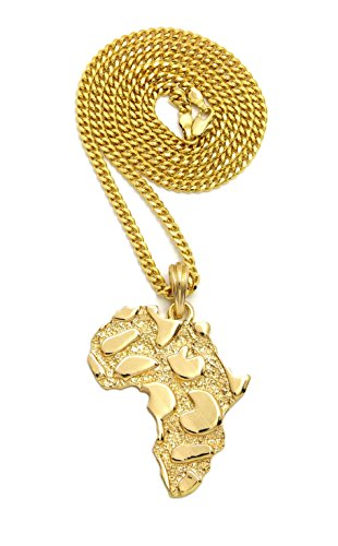 - Crown Nugget Texture Africa Map Pendant Necklace, 24 Inches - Various Chain Available (Gold / Cuban Chain)