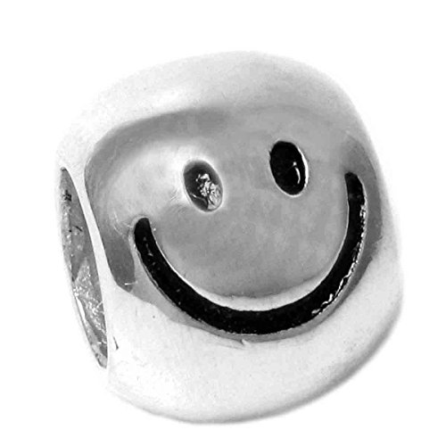 Sterling Silver Happy Face European Bead Charm by Queenberry