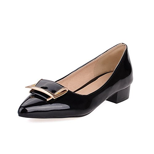 Closed Womens Heels Pumps Pointed Patent Shoes Pull Toe Black Low AllhqFashion On Leather Solid Z4qZw0
