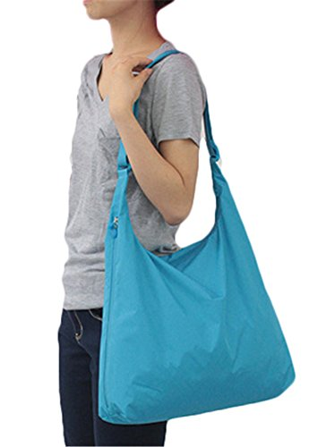 Sky pure color Crossbody Waterproof JDS Shoulder Bags Blue Foldable Women Portable Capacity Nylon Large Fortuning's Eq1TOwUU