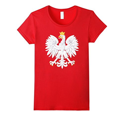 Womens Polish T-Shirts Poland Coat of Arms Polska Polish Emblem Medium Red (Coat Poland)