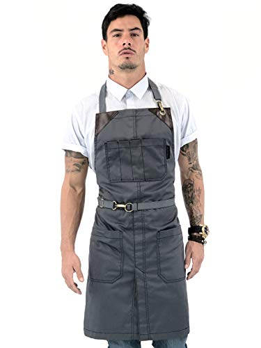 Under NY Sky No-Tie Armor Gray Apron - Durable Twill with Leather Reinforcement, Split-Leg - Adjustable for Men and Women - Pro Barber, Tattoo, Barista, Bartender, Baker, Hair Stylist, Server Apron