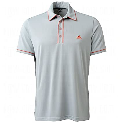 Adidas Climalite Piped Solid Polo ChromeBright Coral S