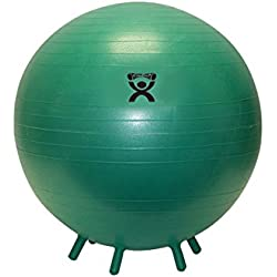 """CanDo Non-Slip Inflatable Exercise Ball with Stability Feet, Green, 25.6"""""""