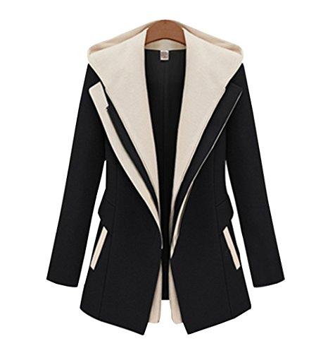 Parka COCO con Slim Nero Tone Trench Ragazza Cerniera Cardigan Cappuccio Donna 2 Jacket Coat Blazer Caldo Inverno clothing Giacca Cappotto Reefer t0Uxp0r