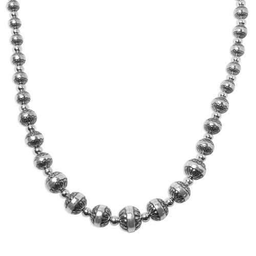 Sterling Silver Graduated Concha Bead Necklace, 20 Inch by American West