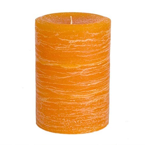 Nordic Candle - Rustic Pillar Candle - 3x4 Inch Orange - Unscented