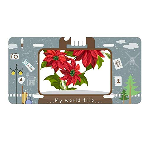DIYthinker Christmas Flower Poinsettia Bouquet Red License Plate Car Decoration Tin Sign Travel