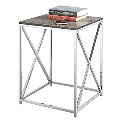 Convenience Concepts Belaire End Table, Chrome / Weathered Gray - Chrome frame Ample table Top surface Easy assembly - living-room-furniture, living-room, end-tables - 41Cn65mPOOL. SS400  -