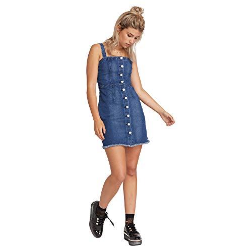 Volcom Junior's Women's Vol Stone Button Up Denim Dress, Harbor Blue, X-Small
