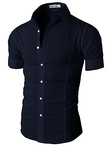 H2H Men's Wrinkle Free Slim Fit Button-down Short Sleeve Shirt