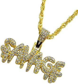 Collar De Hip-Hop Para Hombres Personalidad De Venta Caliente Europea Y Americana Llena De Diamantes Savadf Colgante De Letra