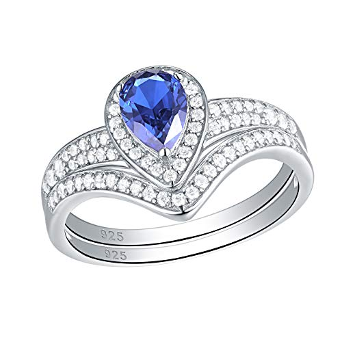 Newshe Sterling Silver Wedding Sets for Women Engagement Ring White Cz Pear Blue Tanzanite Size 7