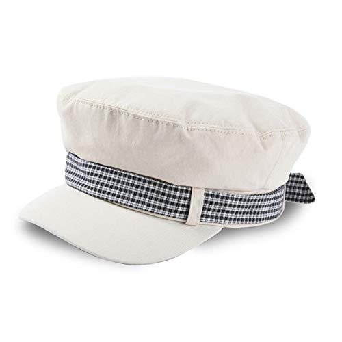 ZYKIMYONG Autumn Newsboy Caps Plaid Bowknot Patchwork Flat Top Caps Cotton Cap