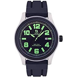 Swiss Mountaineer Mens Watch Black Silicone Rubber Band Easy Read Dial Green Numerals Date Reloj SM8042