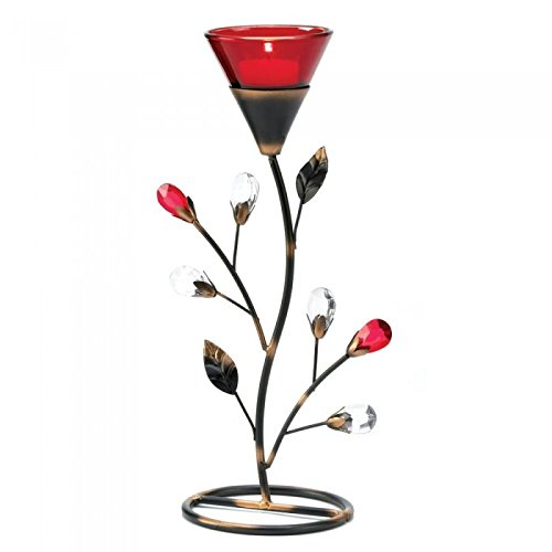 Gifts & Decor D1083 Ruby Blossom Tealight Holder, Multicolor