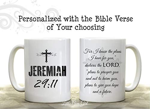 Double Sided Custom Coffee Mug made with the Bible Verse of your choosing - Personalized Scripture Coffee Cup - Bible Verse Christian Gifts