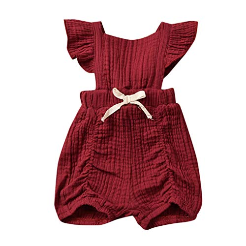 WOCACHI Newborn Infant Baby Girls Solid Bow Romper Bodysuit Sleeveless Clothes Outfits 0-3M 0-6M 3-6 Mos 6-9M 9-12M 6-12M 12-18M 18-24M 0-3T 0-24 Months 2 Years and Up 2T 3T -