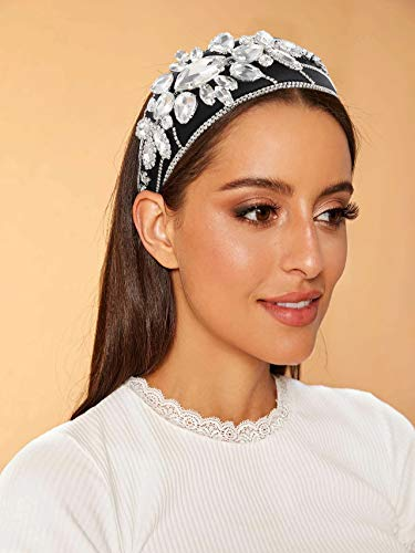 Rhinestone Crystal Velvet Padded Headbands for Women Luxury Baroque Crystal Embellished Headbands Bejewelled Hairbands Shinny Hair Accessory for Girls Birthday Party Holiday Gifts