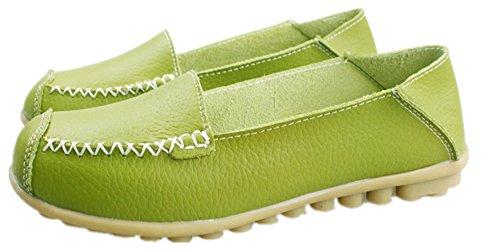 Anbover Kvinna Kör Skor Tillfälligt Läder Platta Loafers Grönt