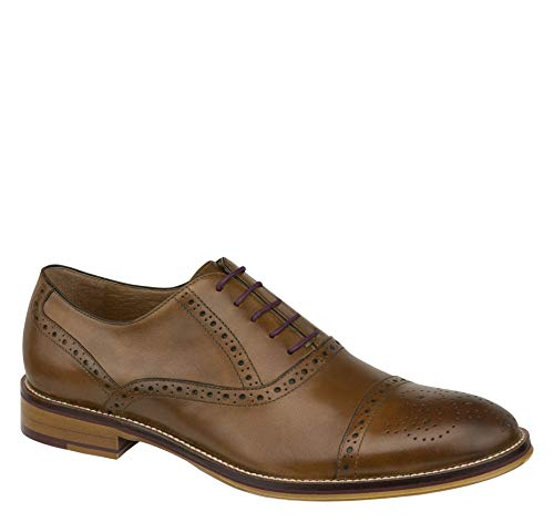 Johnston & Murphy Men's Conard Cap Toe Shoe Tan Italian Calfskin 11.5 M US