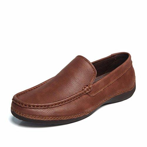 Moonwalker Mens Full Grain Leather Slip-On Loafer (10 D(M) US,Dark Brown)
