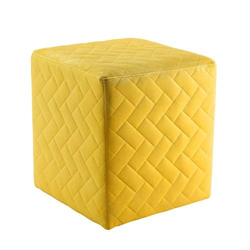 Inspired Home Alexis Yellow Velvet Cube Ottoman – Quilted | Upholstered | Living Room, Entryway, Bedroom