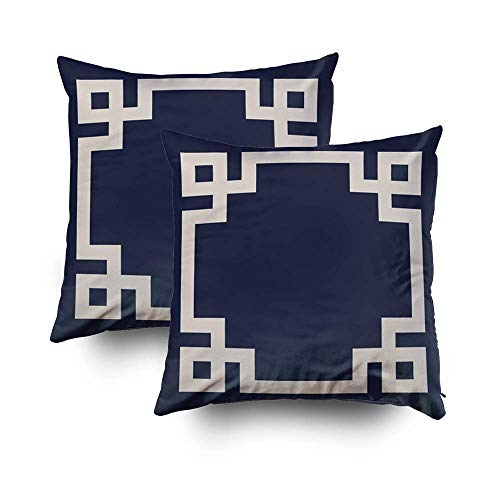 Remain Unique Navy Blue Linen Beige Greek Key Border 2 Pack Decorative Throw Pillow Case Cushion Cover for Couch Sofa Bed,Printed Pillowcase Sets,26x26 Inch