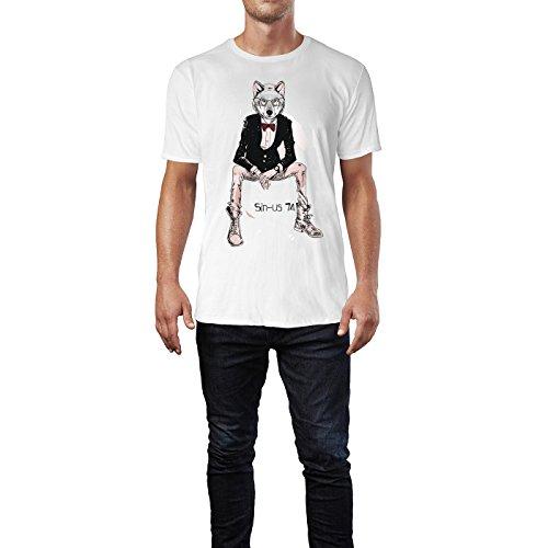 SINUS ART ® Zeichnung Hipster Wolf mit Fliege und Brille Herren T-Shirts in Weiss Fun Shirt mit tollen Aufdruck
