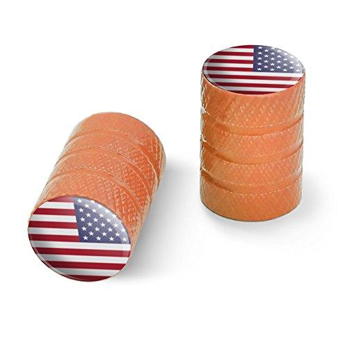 逆アメリカアメリカの旗赤い白青い軍隊オートバイ自転車バイクタイヤリムホイールアルミバルブステムキャップ - オレンジ