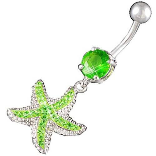 14Gauge 1.6mm 3/8 Inch 10mm starfish Peridot Crystal Ferido dangle belly dangling navel button ring dangly bar AFYG (Dangling Peridot Belly Button Ring)