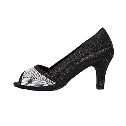 Floreale Noemi Donne Larghezze Open-toe Con Strass Slip-on Party Heeled Dress Pumps (taglia / Misura) Nero