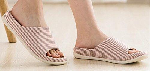 TELLW Men's Female Linen Slippers Summer Home Indoor Spring Autumn Floor Anti-Sliding Slippers Women Red S2NxER1