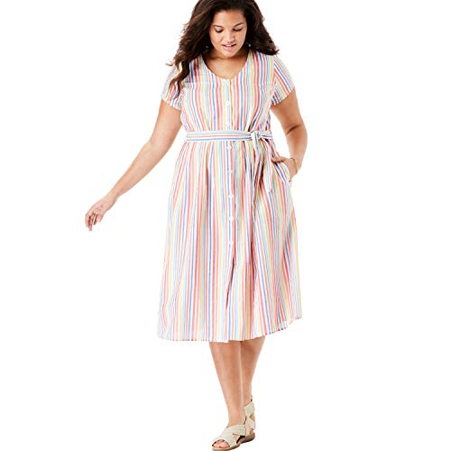 - Woman Within Women's Plus Size Short Sleeve Seersucker Button-Front Dress - Multi Stripe, 14 W