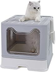Foldable Litter Box with Lid Top Entry Extra Large Covered Cat Litter Box Hidden Easy to Clean Litter Pan
