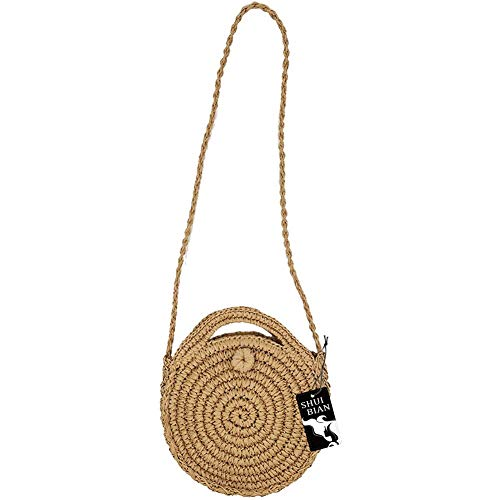 (SHUIBIAN Women Straw Crossbody Bag Crochet Shoulder Summer Bag Round Handbags Beach Bag )