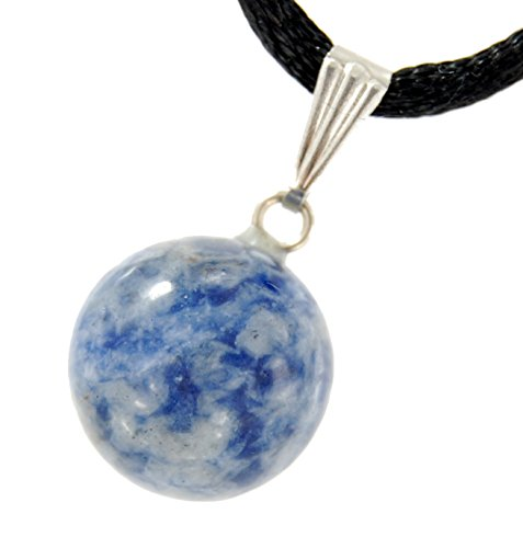 Steampunkers USA Celestial Collection - 14mm Moon Sphere Ball Sodalite Blue White - 20-22 Inch Adjustable Black Cord - Crystal Gemstone Collectibles Carved Necklace Handmade Charm